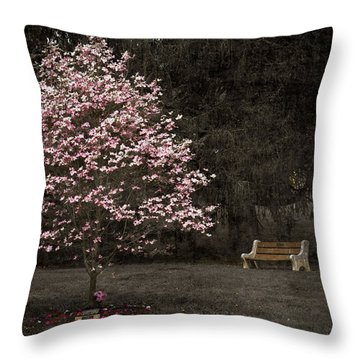 Pink Dogwood Tree And A Bench Throw Pillow