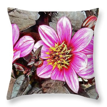 Pink Floral Glory Throw Pillow