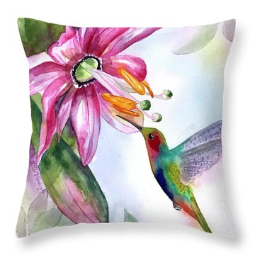 Pink Flower For Hummingbird Throw Pillow