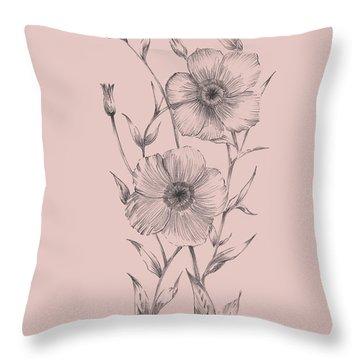 Pink Flower Sketch Illustration I Throw Pillow