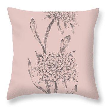 Pink Flower Sketch Illustration II Throw Pillow