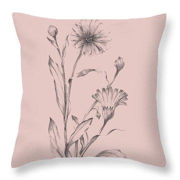 Pink Flower Sketch Illustration IIi Throw Pillow
