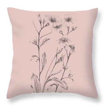 Pink Flower Sketch Illustration Throw Pillow