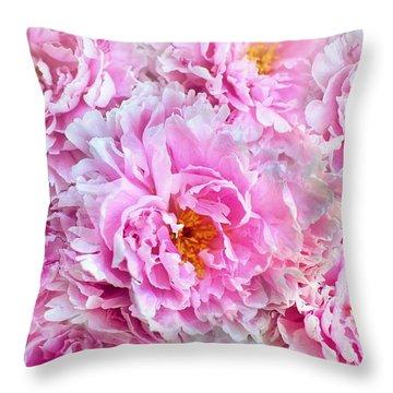 Pink Flowers Everywhere Throw Pillow