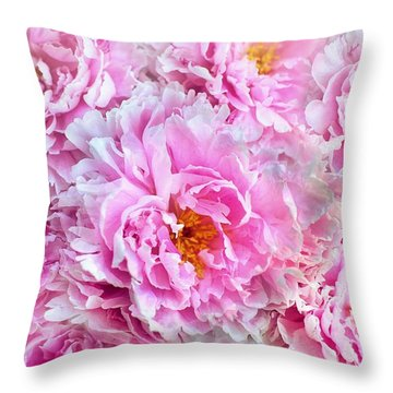 Pink Flowers Everywhere Throw Pillow