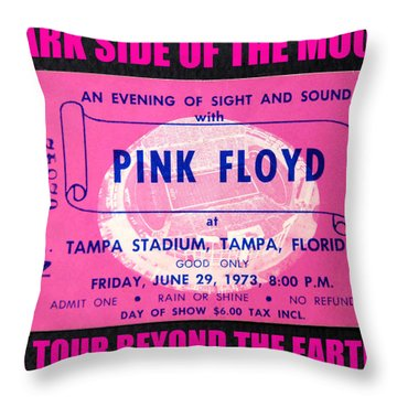 Pink Floyd 1973 Ticket And Tour Throw Pillow