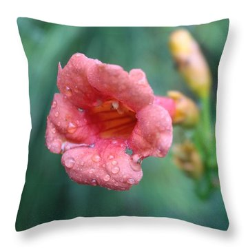 Pink Four O Clock Throw Pillow