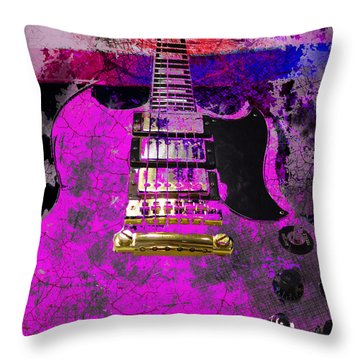Pink Guitar Against American Flag Throw Pillow
