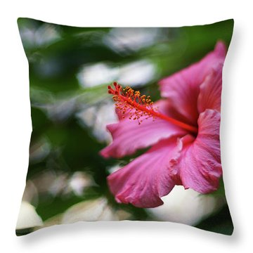 Throw Pillow featuring the photograph Pink Hibiscus Flower by Pablo Avanzini