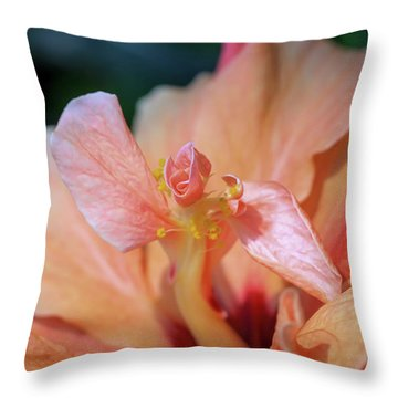 Pink Hibiscus Flower Throw Pillow