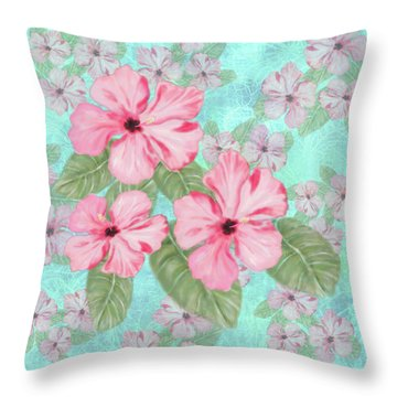 Pink Hibiscus Print On Aqua Throw Pillow
