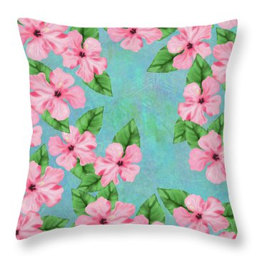 Pink Hibiscus Tropical Floral Print Throw Pillow