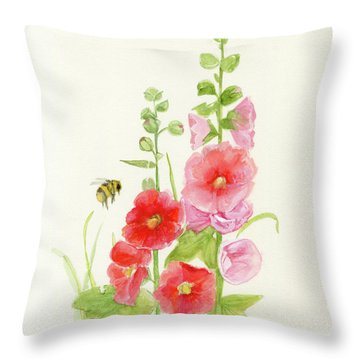 Pink Hollyhock Watercolor Throw Pillow