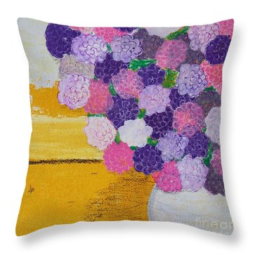 Throw Pillow featuring the painting Pink Hydrangeas Or Are They Peonies? by Kim Nelson