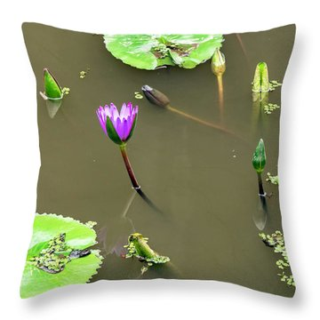 Pink Lily Vietnam Style Throw Pillow