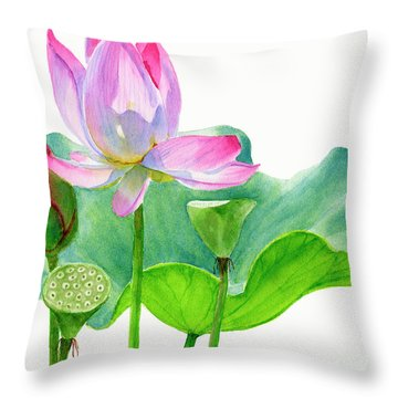 Pink Lotus Blossom With Pad And Bud Throw Pillow