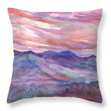 Pink Mountain Landscape Throw Pillow