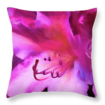 Throw Pillow featuring the digital art Pink O'keefe by Cindy Greenstein