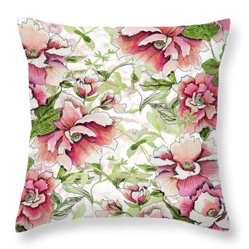 Pink Peony Blossoms Throw Pillow