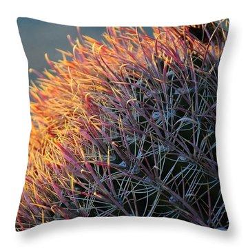 Pink Prickly Cactus Throw Pillow