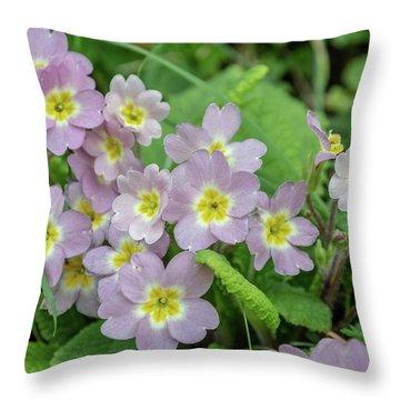 Pink Primroses In Devon Throw Pillow