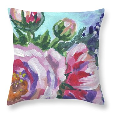 Pink Purple Flowers Floral Impressionism  Throw Pillow