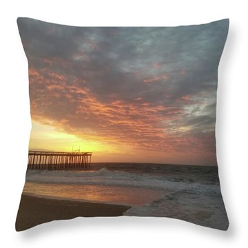 Pink Rippling Clouds At Sunrise Throw Pillow