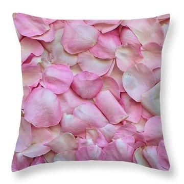 Pink Rose Petals Throw Pillow