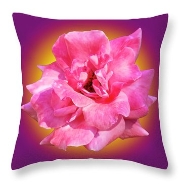 Throw Pillow featuring the photograph Pink Rose With Background by Howard Bagley