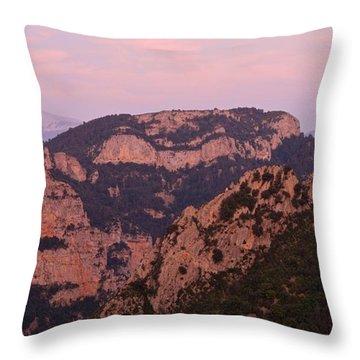 Pink Skies Above Pena Montanesa Throw Pillow