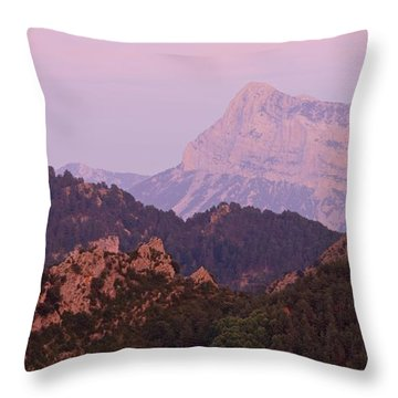 Pink Skies And Alpen Glow In The Anisclo Canyon Throw Pillow