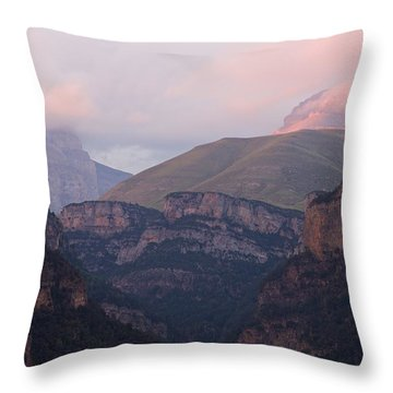 Pink Skies In The Anisclo Canyon Throw Pillow