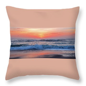 Pink Sunrise Panorama Throw Pillow