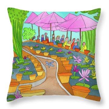 Pink Umbrella And Lilies Throw Pillow