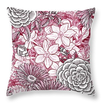 Pink Watercolor Botanical Flowers Garden Flowerbed I Throw Pillow