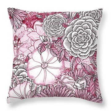 Pink Watercolor Botanical Flowers Garden Flowerbed IIi Throw Pillow
