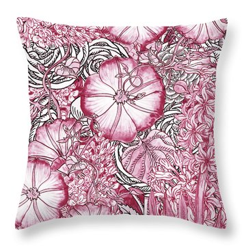 Pink Watercolor Botanical Flowers Garden Flowerbed Vi Throw Pillow