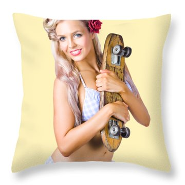 Throw Pillow featuring the photograph Pinup Woman In Bikini Holding Skateboard by Jorgo Photography - Wall Art Gallery
