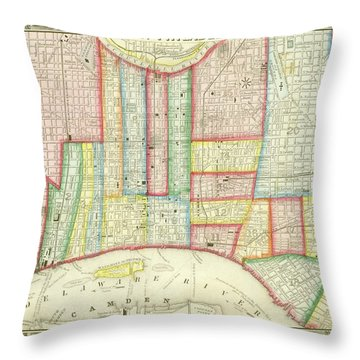 Plan Of Philadelphia, 1860 Throw Pillow