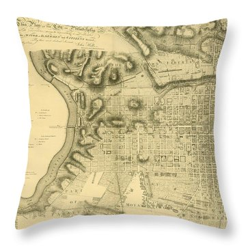 Plan Of The City Of Philadelphia And Its Environs Shewing The Improved Parts, 1796 Throw Pillow