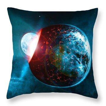 Planet Impact Throw Pillow