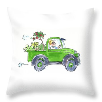 Plant Delivery Throw Pillow