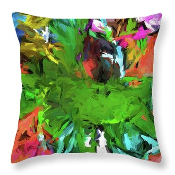 Plant With The Green And Turquoise Leaves Throw Pillow