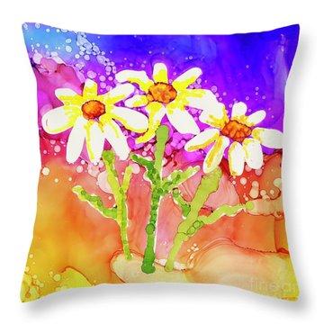 Playful Daisies Throw Pillow