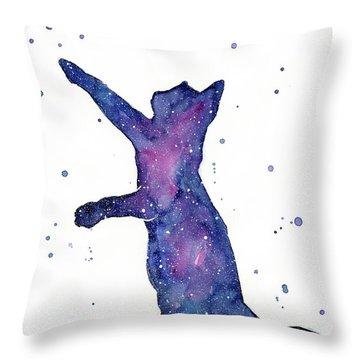 Playful Galactic Cat Throw Pillow