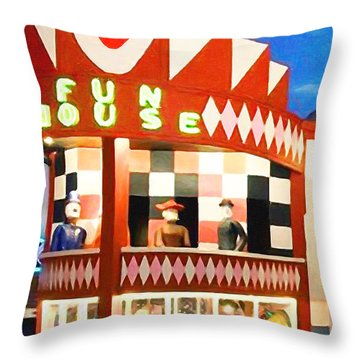 Throw Pillow featuring the photograph Playland At The Beach Fun House San Francisco Nostalgia 20181224 by Wingsdomain Art and Photography