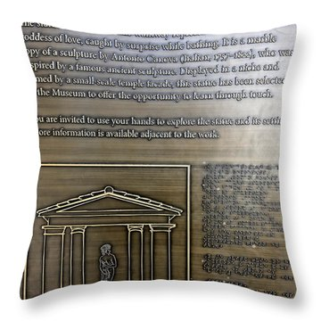 Please Touch Plaque At Getty Villa  Throw Pillow