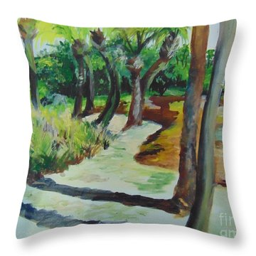 Throw Pillow featuring the painting Plen Aire Palms by Saundra Johnson