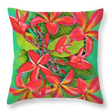 Plumeria Sunburst Throw Pillow