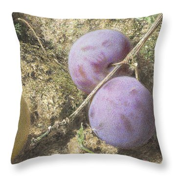 Plums And Mulberries Detail Throw Pillow